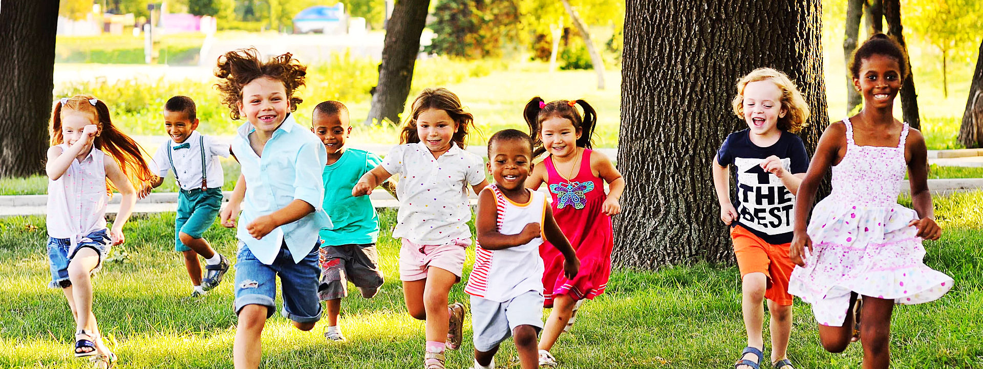 group of children are running